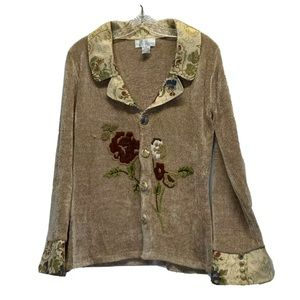 Soft Surroundings Champagne Chenille Jacket